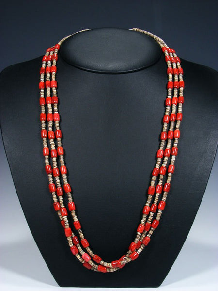 Native American Santo Domingo Three Strand Coral and Heishi Necklace