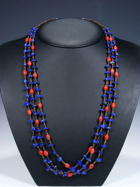 Native American Lapis Heishi and Coral 3 Strand Necklace