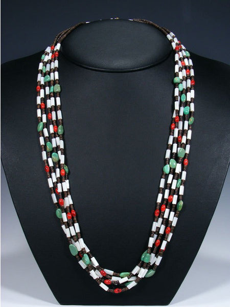 Native American Turquoise Heishi and Coral 5 Strand Necklace
