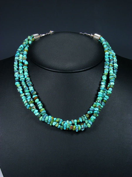 Native American Triple Strand Blue Moon Turquoise Necklace