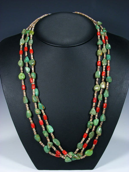 Native American Indian Santo Domingo Three Strand Turquoise and Coral Necklace