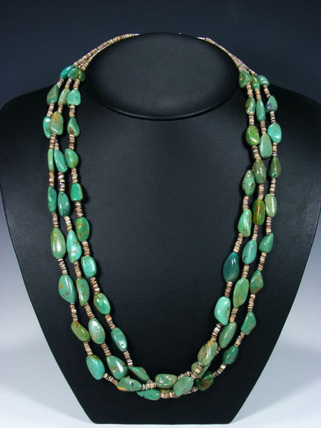 Native American Indian Santo Domingo Three Strand Turquoise and Heishi Necklace
