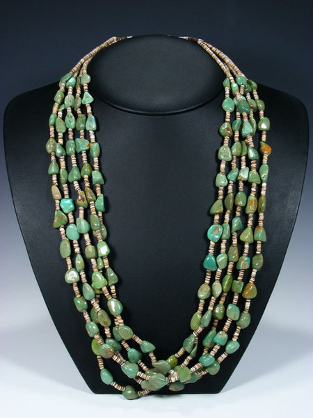 Native American Indian Santo Domingo Five Strand Turquoise and Heishi Necklace