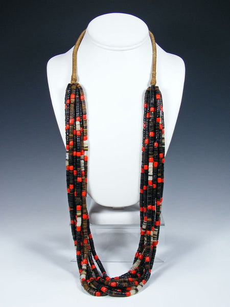 Santo Domingo Nine Strand Red Glass Bead Heishi Necklace