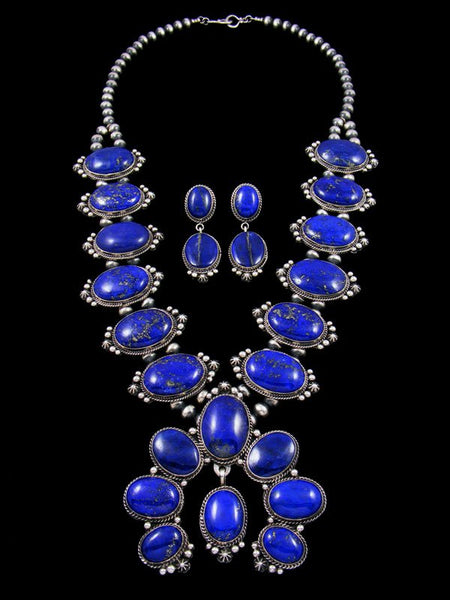 Native American Indian Sterling Silver Lapis Squash Blossom Necklace Set