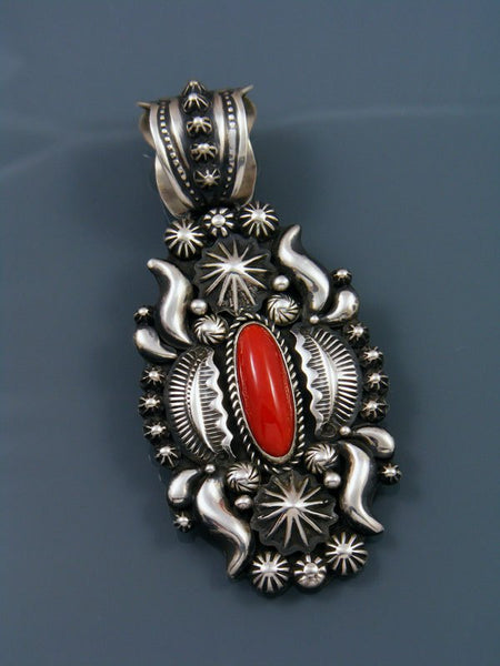 Large Native American Indian Red Coral Pendant