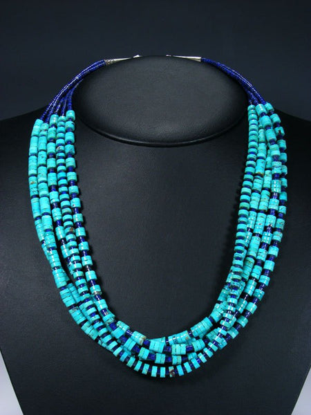 Five Strand Native American Santo Domingo Lapis and Turquoise Necklace