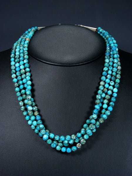 Native American Indian Jewelry Four Strand Turquoise Necklace
