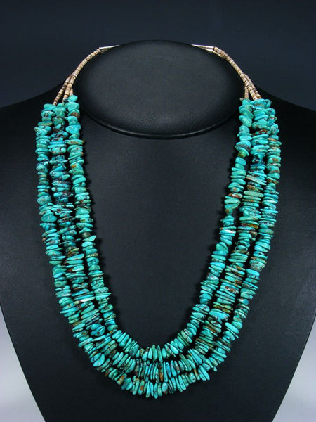 Native American Triple Strand Heishi and Turquoise Necklace