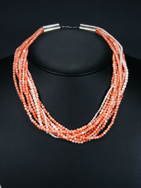 Native American Nine Strand Pink Coral Necklace