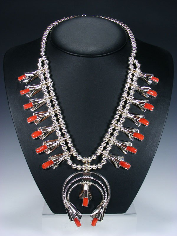 Navajo Red Coral Sterling Silver Squash Blossom Necklace Set