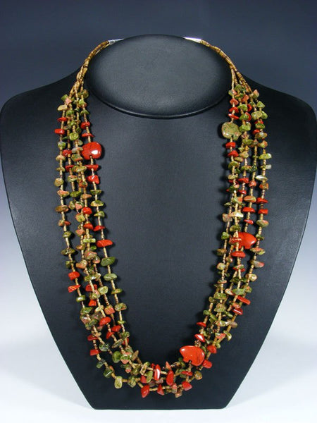 Native American Unakite Fetish Bear Necklace
