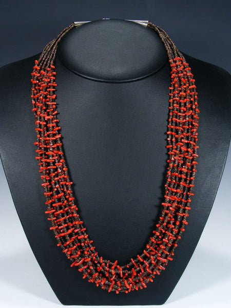 Native American Nine Strand Coral and Heishi Necklace
