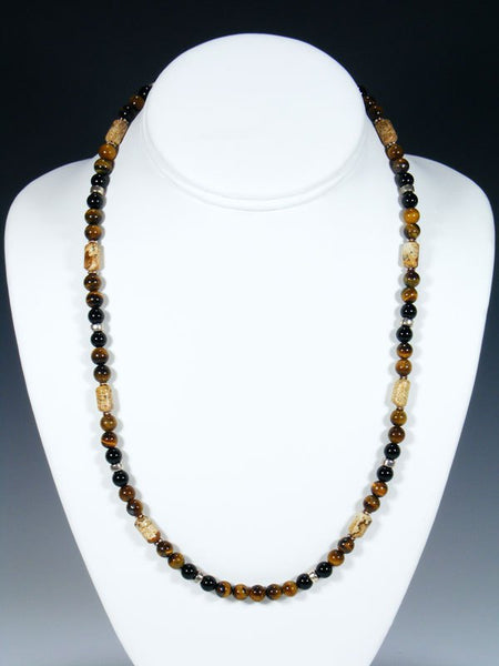 Navajo Jasper and Tiger Eye Single Strand Necklace