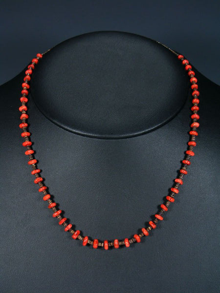 Native American Coral Heishi Choker Necklace