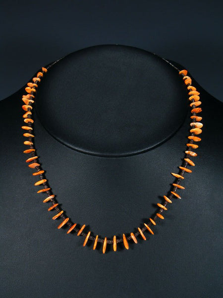 Native American Spiny Oyster and Heishi Single Strand Necklace