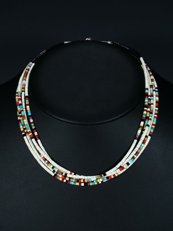 Native American Indian Bead Santo Domingo White Shell Necklace