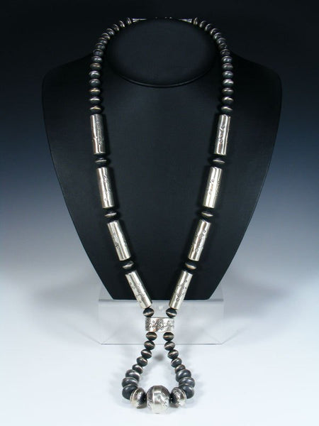 Native American Sterling Silver Navajo Pearl Bead Necklace Jocla Set