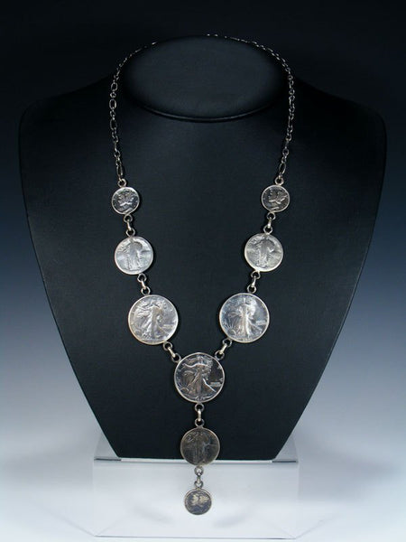 Native American Silver Coin Necklace