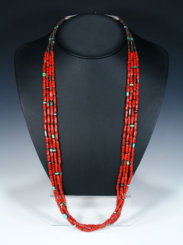 Native American Indian Jewelry Natural Coral Four Strand Necklace
