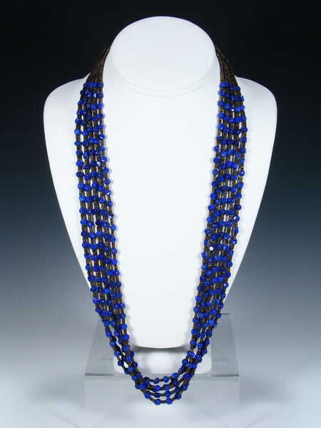 Native American Lapis Heishi Five Strand Necklace