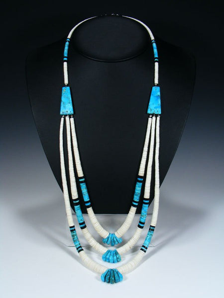 Native American Santo Domingo Turquoise and White Shell Necklace