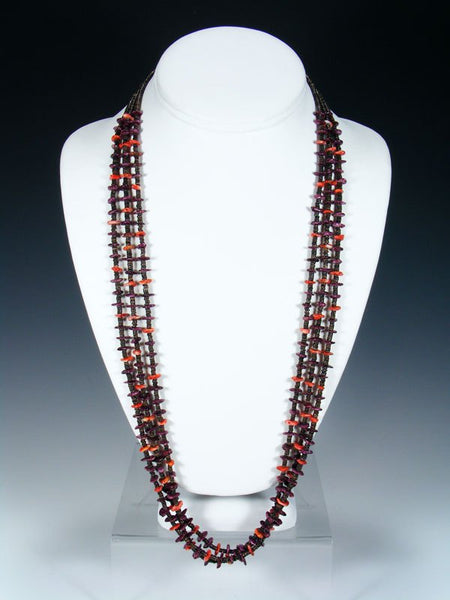 Native American Spiny Oyster Heishi Triple Strand Necklace