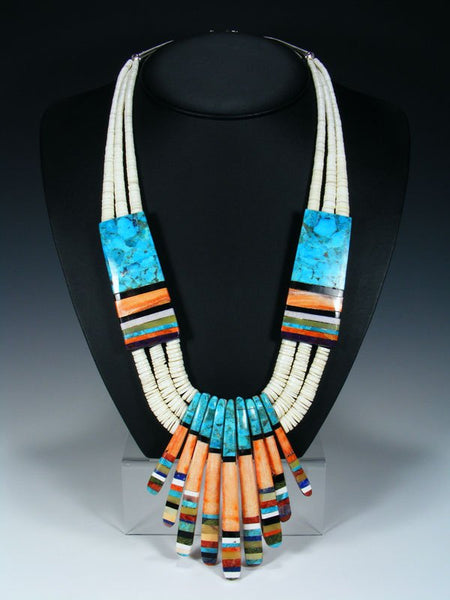 Native American Indian Santo Domingo Shell and Turquoise Mosaic Necklace