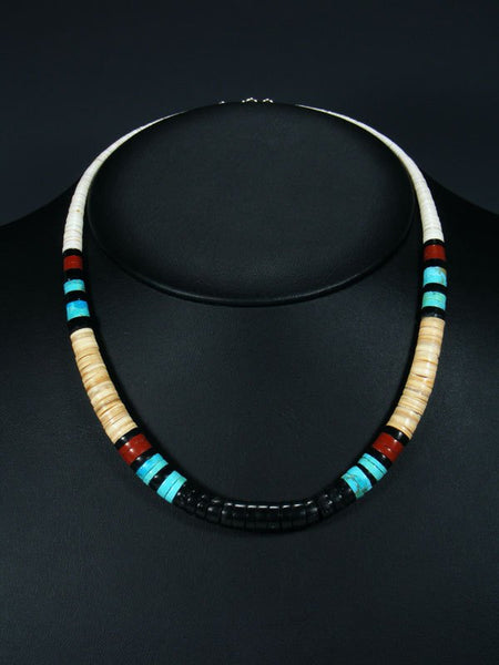 Native American Jet Shell and Turquoise Necklace