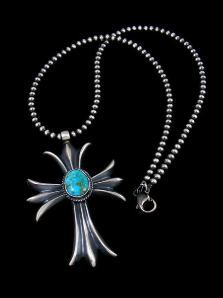 Sterling Silver Kingman Turquoise Navajo Sandcast Cross Necklace
