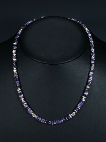 Navajo Purple Wampum Sterling Silver Bead Necklace