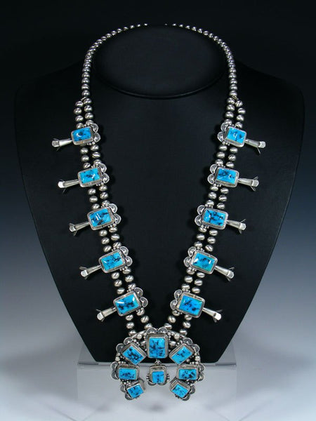 Sleeping Beauty Turquoise Sterling Silver Squash Blossom Necklace Set