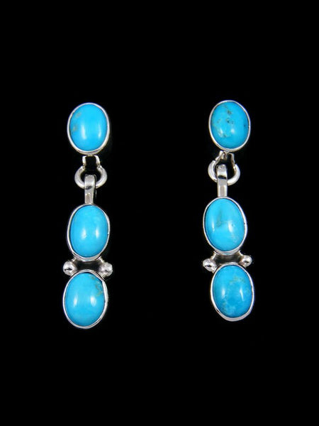 Native American Sterling Silver Sleeping Beauty Turquoise Post Earrings