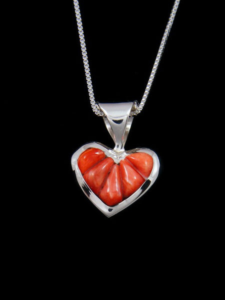 Navajo Red Spiny Oyster Heart Inlay Pendant