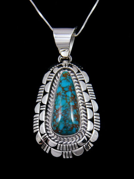 Native American Sterling Silver Bisbee Turquoise Pendant