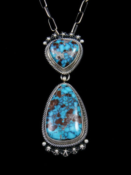 Native American Sterling Silver Dry Creek Turquoise Pendant