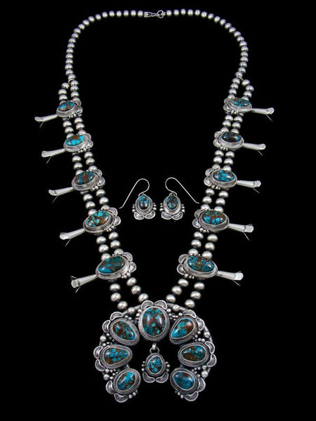 Bisbee Turquoise Sterling Silver Squash Blossom Necklace Set