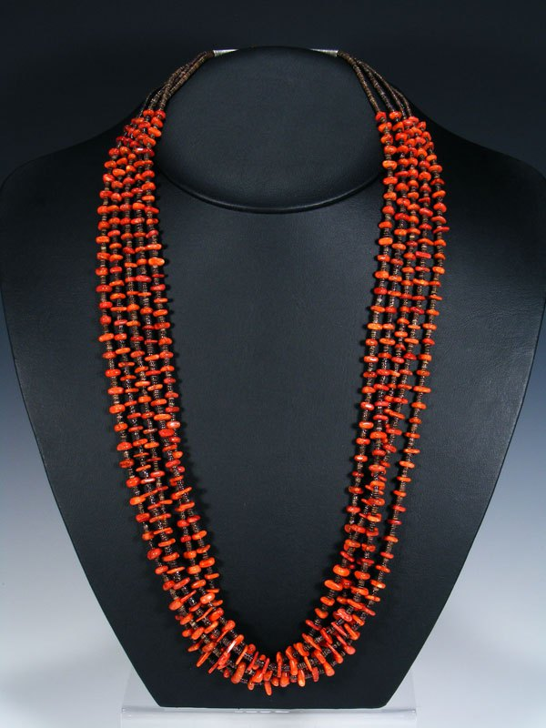 Native American Apple Coral and Heishi Five Strand Necklace