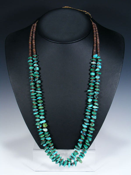 Native American Turquoise Heishi Double Strand Necklace