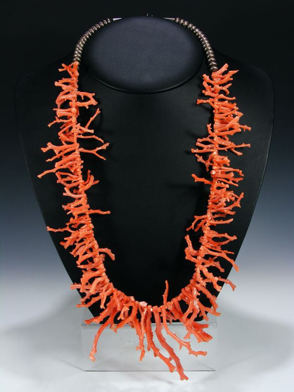 Old Pawn Branch Coral Necklace by Vintage Jewelry - PuebloDirect.com - 1