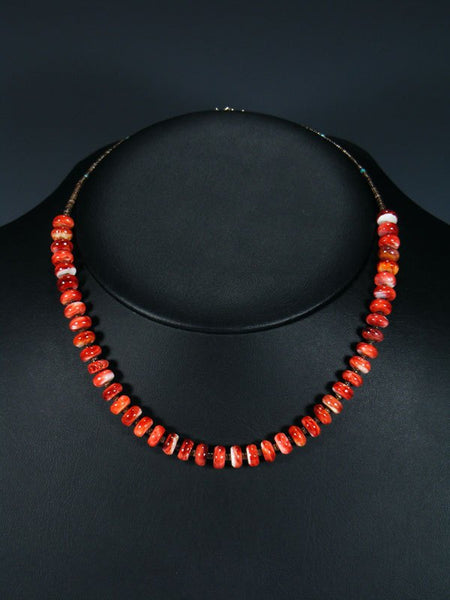 Native American Spiny Oyster and Heishi Choker Necklace