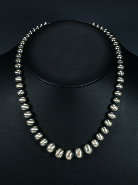 Graduated Navajo Pearl Sterling Silver Bead Necklace
