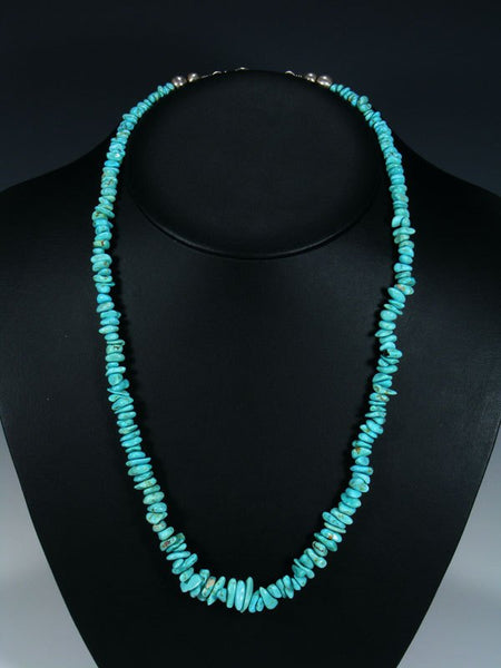 Native American Indian Jewelry Single Strand #8 Turquoise Necklace