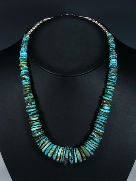 Native American Graduated Turquoise Chunky Disc Necklace