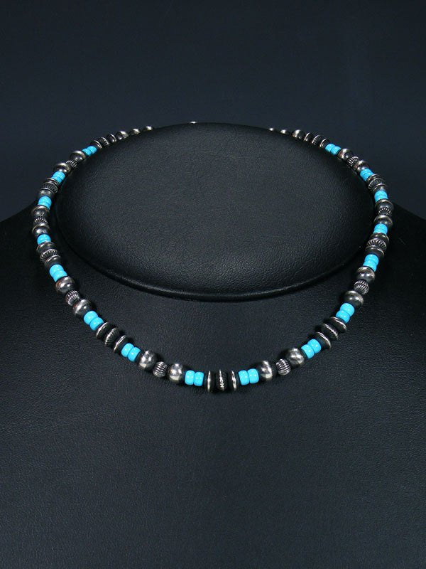 "16"" Navajo Turquoise Sterling Silver Bead Necklace"