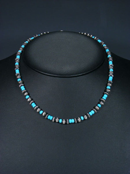 "18"" Navajo Turquoise Sterling Silver Bead Necklace"