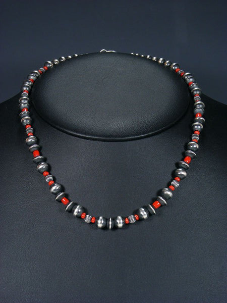 "18"" Navajo Coral Sterling Silver Bead Choker Necklace"