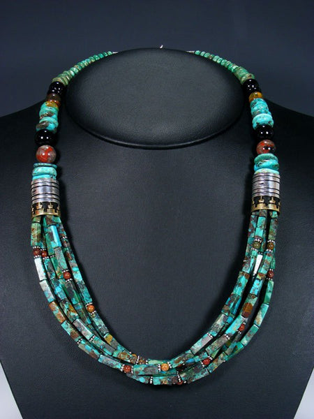"24"" Navajo Turquoise Multi Strand Beaded Necklace"