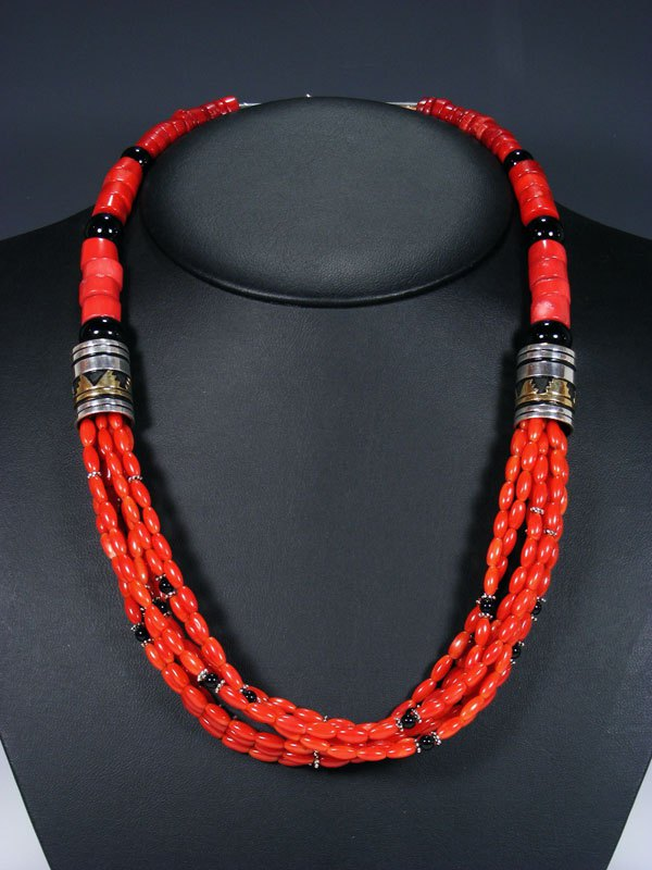 "24"" Navajo Bamboo Coral Multi Strand Beaded Necklace"
