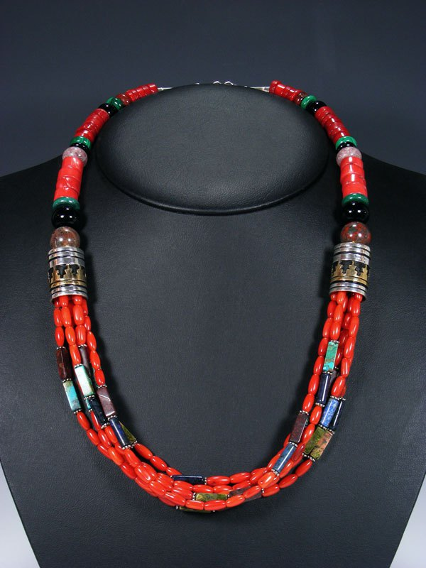 heavy Southwestern 8946 red coral bead 28 inches Native American with handmade silver end pieces Long and turquoise chunk necklace